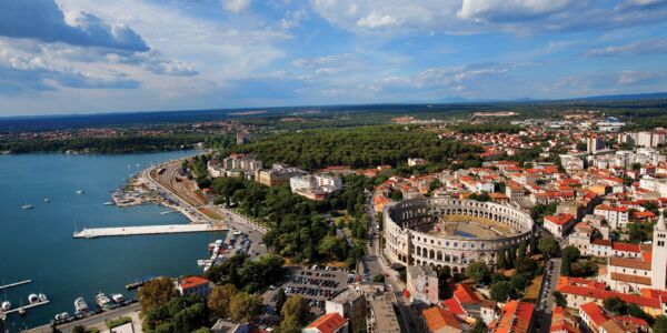 Overview of Pula in Croatia